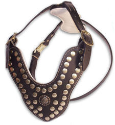 Adjustable Studded Dog Harness - Royal Paddded Leather Dog Harness