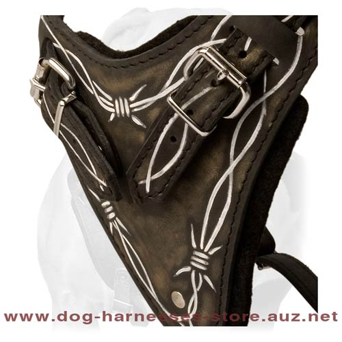 Easy Walking Leather Dog Harness