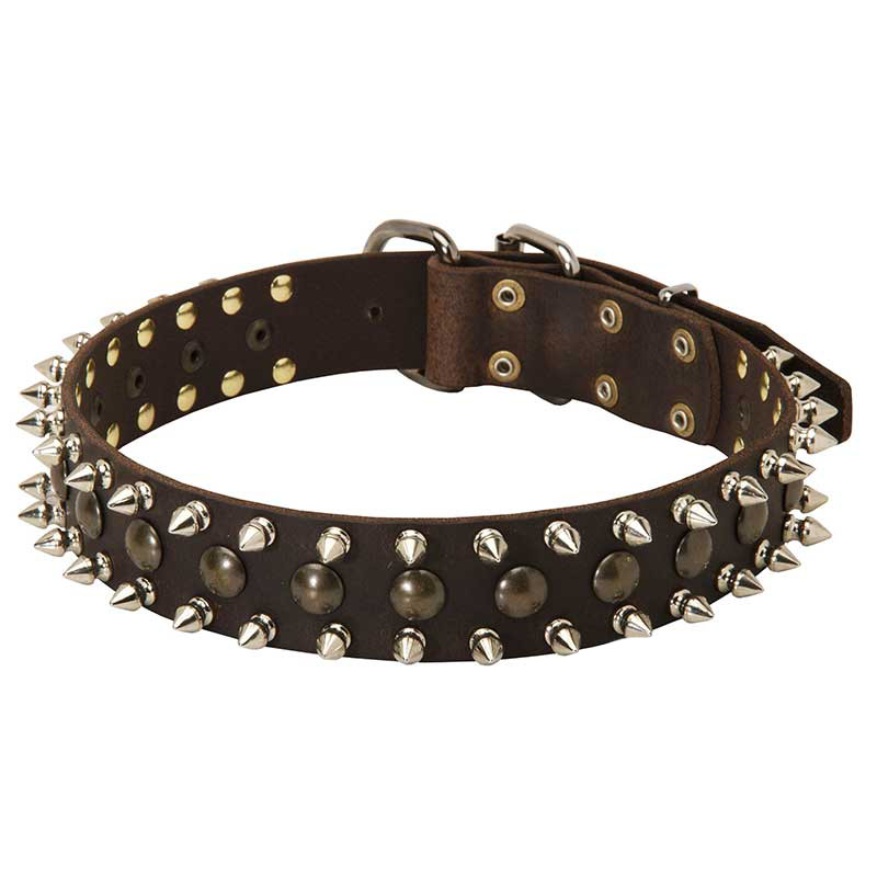Adjustable 3 Rows Leather Spiked and Studded Dog Collar