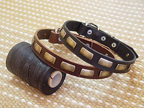 Adjustable Leather Special Dog Collar With Plates