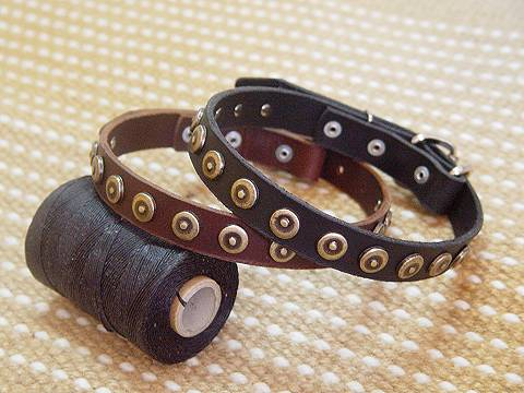 Adjustable Leather Dog Collar With Dotted Circles