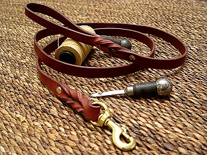 Handcrafted leather dog leash for walking and Pulling for dog training or for dog owners