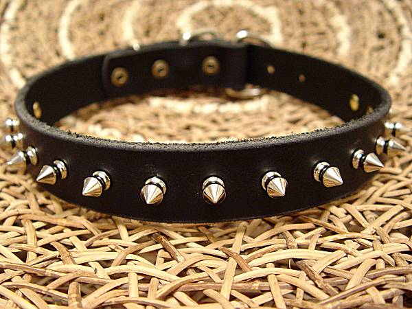 Adjustable Leather spiked dog collar-1 Row of spikes collar for all breeds