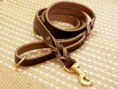 Adjustable Handcrafted brown leather dog leash for walking and tracking