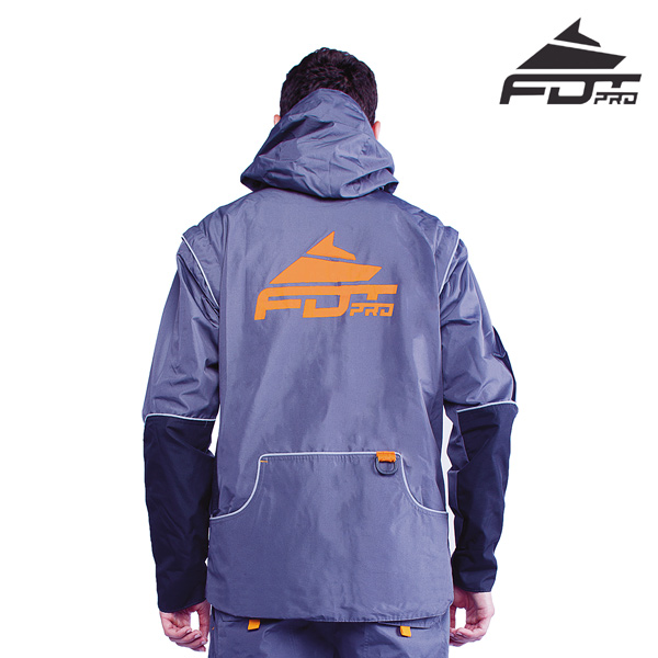 FDT Professional Dog Training Jacket Grey Color with Strong Side Pockets