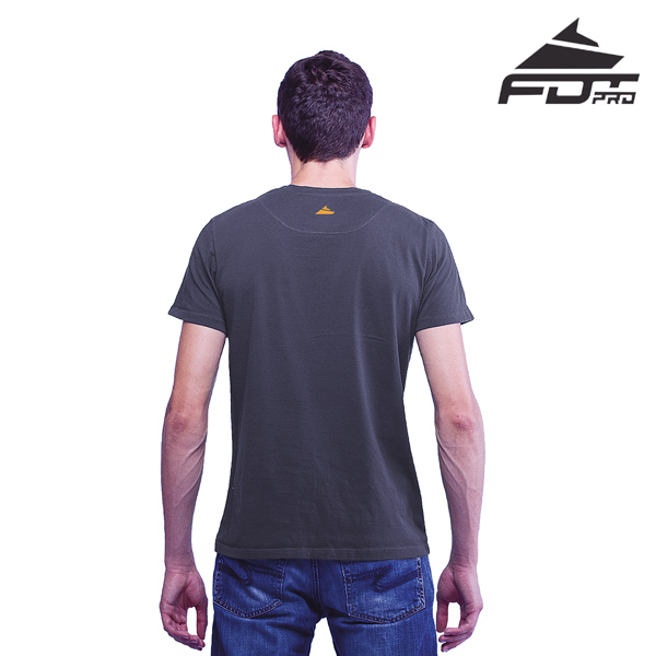 Men T-shirt of Dark Grey Color FDT Professional for Dog Trainers