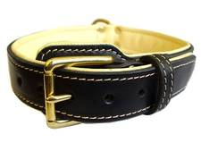 Adjustable Royal Nappa Padded Hand Made Leather Dog Collar - code: C443